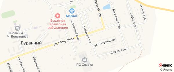 Майский переулок на карте Буранного поселка с номерами домов