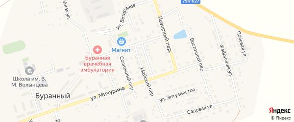 Ясный переулок на карте Буранного поселка с номерами домов