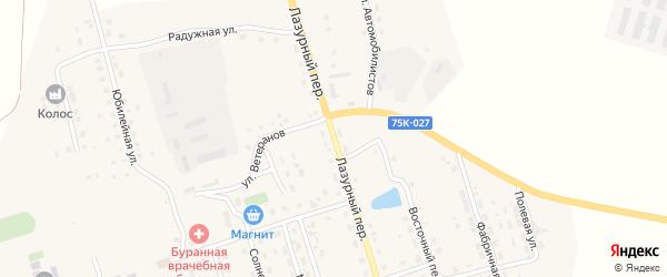Лазурный переулок на карте Буранного поселка с номерами домов
