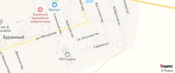 Улица Энтузиастов на карте Буранного поселка с номерами домов
