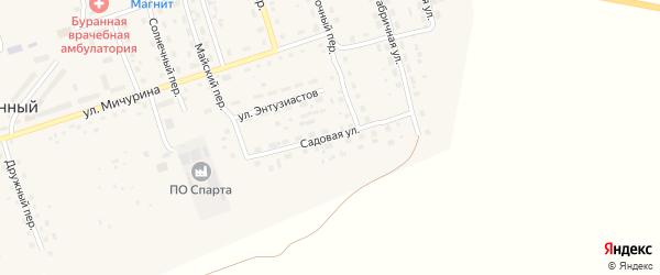 Садовая улица на карте Буранного поселка с номерами домов