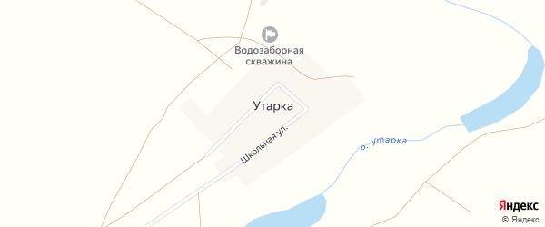 Школьная улица на карте поселка Утарки с номерами домов