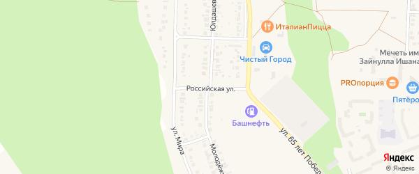 Российская улица на карте Учалы с номерами домов