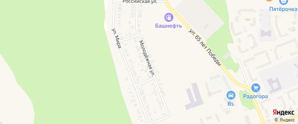 Молодежная улица на карте деревни Кажаево с номерами домов