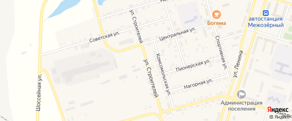 Улица Строителей на карте Межозерного поселка с номерами домов