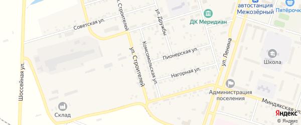 Комсомольская улица на карте Межозерного поселка с номерами домов