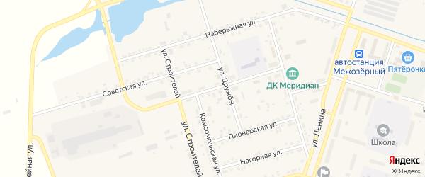 Центральная улица на карте Межозерного поселка с номерами домов