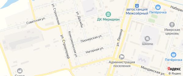 Пионерская улица на карте Межозерного поселка с номерами домов