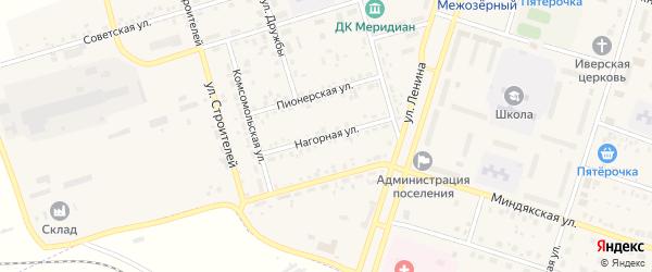 Нагорная улица на карте Межозерного поселка с номерами домов