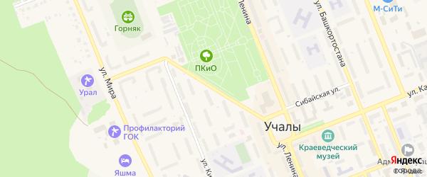 Улица 50 лет Октября на карте Учалы с номерами домов