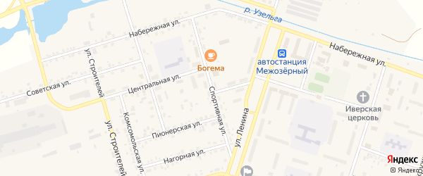 Спортивная улица на карте Межозерного поселка с номерами домов