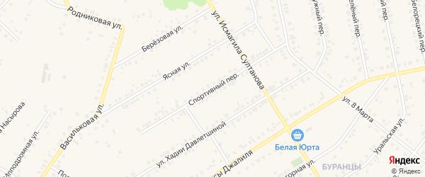 Спортивный переулок на карте Учалы с номерами домов