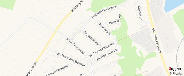 Ахуновская улица на карте Учалы с номерами домов