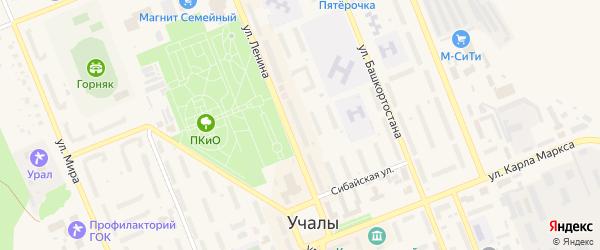 Барачный переулок на карте Учалы с номерами домов