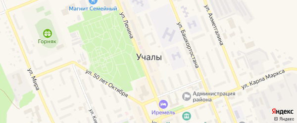 Переулок Победы на карте Учалы с номерами домов