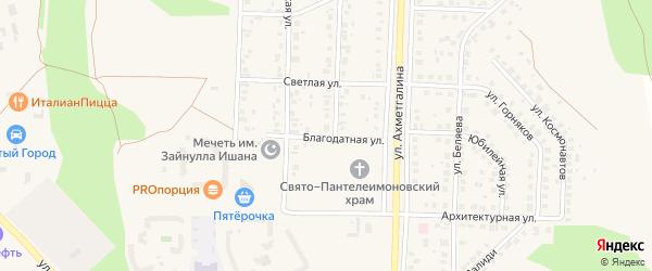 Благодатная улица на карте Учалы с номерами домов