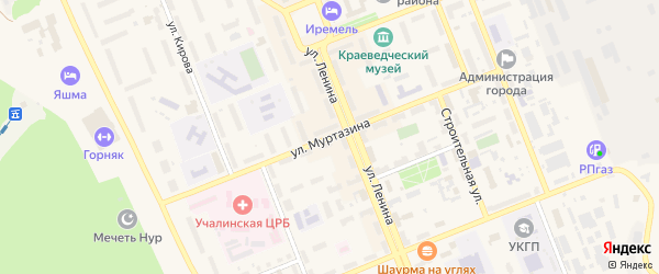 Улица Муртазина на карте Учалы с номерами домов