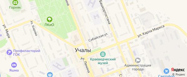Сибайская улица на карте Учалы с номерами домов