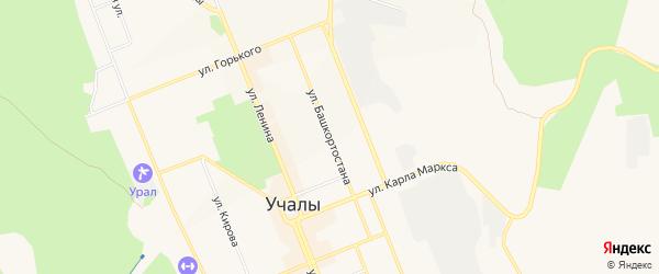 Карта деревни Устиново в Башкортостане с улицами и номерами домов