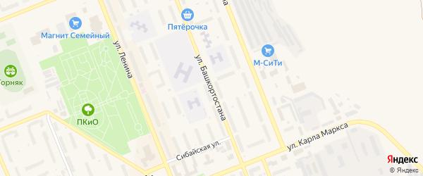 Территория МКР Бурансы на карте Учалы с номерами домов