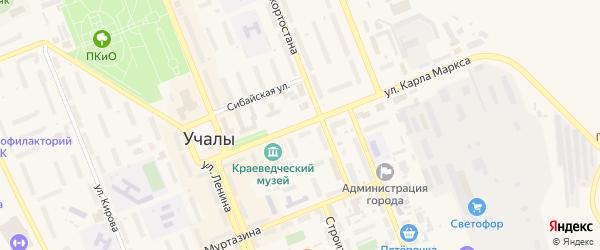 Улица К.Маркса на карте Учалы с номерами домов
