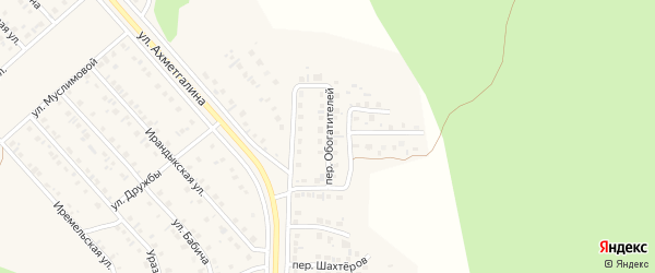 Переулок Обогатителей на карте Учалы с номерами домов