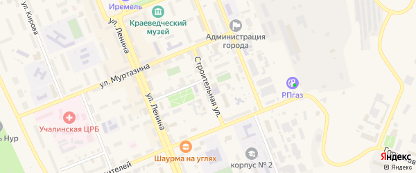 Строительная улица на карте Учалы с номерами домов