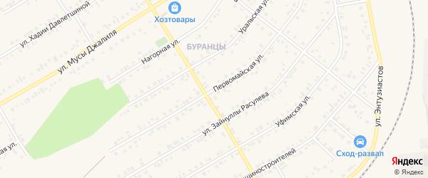 Первомайская улица на карте Учалы с номерами домов