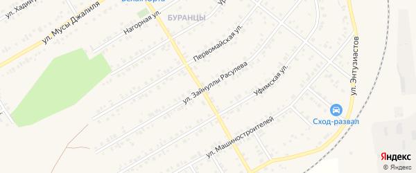 Улица Зайнуллы Расулева на карте Учалы с номерами домов
