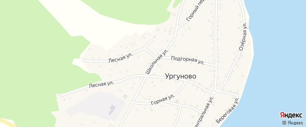 Школьная улица на карте села Ургуново с номерами домов