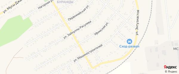 Уфимская улица на карте Учалы с номерами домов