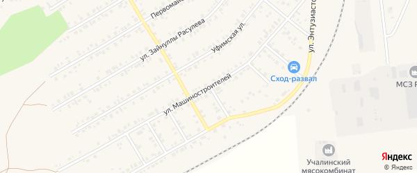 Улица Машиностроителей на карте Учалы с номерами домов
