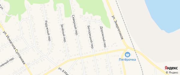 Белорецкий переулок на карте Учалы с номерами домов