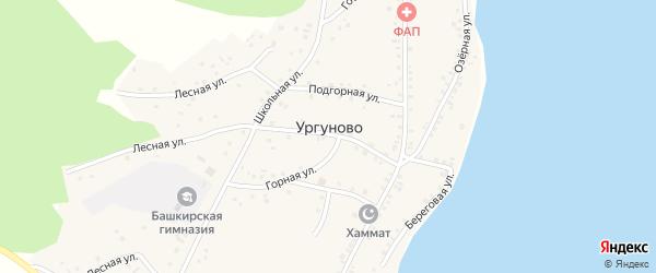 Школьный переулок на карте села Ургуново с номерами домов