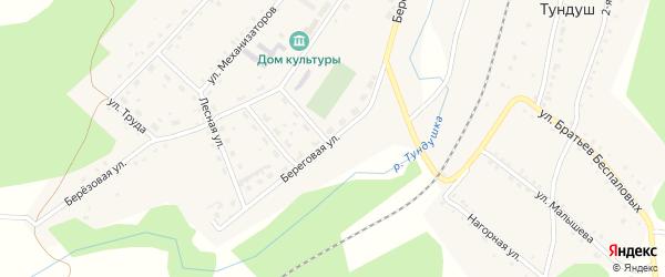 Береговая улица на карте Центрального поселка с номерами домов