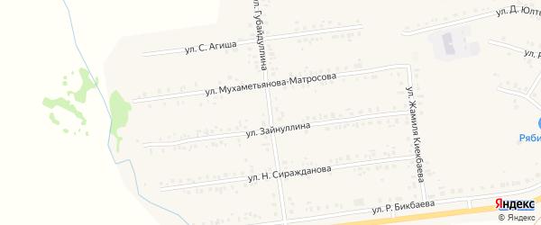 Улица Губайдуллина на карте села Учалы с номерами домов
