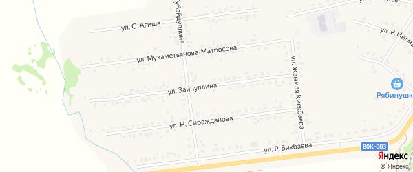 Улица Зайнуллина на карте села Учалы с номерами домов