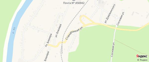 Станционная улица на карте Кусы с номерами домов