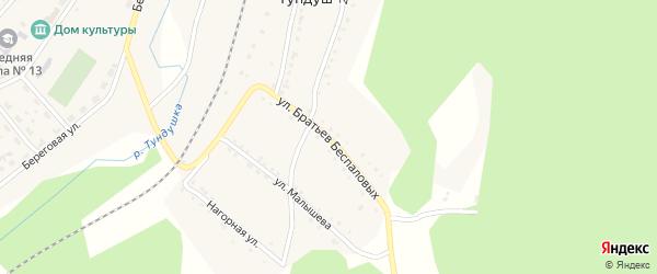 Улица им Братьев Беспаловых на карте поселка Тундуша с номерами домов