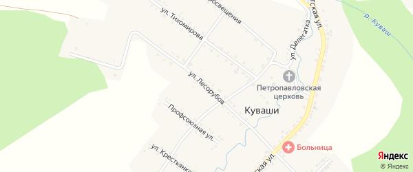 Улица Лесорубов на карте села Куваши с номерами домов