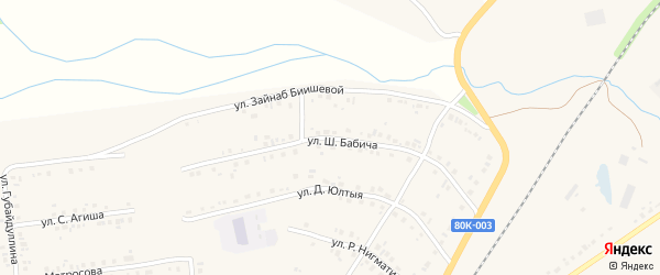 Улица Ш.Бабича на карте села Учалы с номерами домов