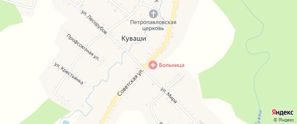 Советская улица на карте села Куваши с номерами домов