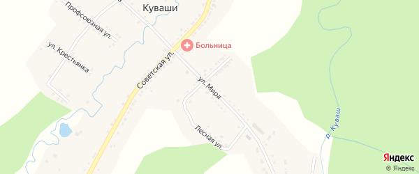 Улица Мира на карте села Куваши с номерами домов
