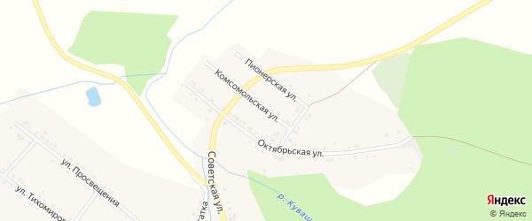 Комсомольская улица на карте села Куваши с номерами домов