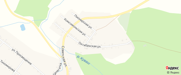Коммунальная улица на карте села Куваши с номерами домов