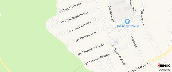 Улица Заки Валиди на карте села Учалы с номерами домов