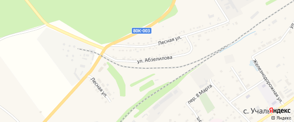 Улица Абзелилова на карте села Учалы с номерами домов
