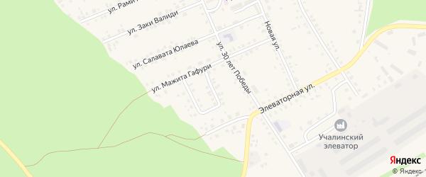 Улица 70 лет Октября на карте села Учалы с номерами домов