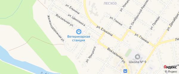 Вокзальная улица на карте Кусы с номерами домов