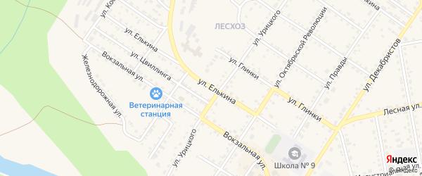 Улица Елькина на карте Кусы с номерами домов